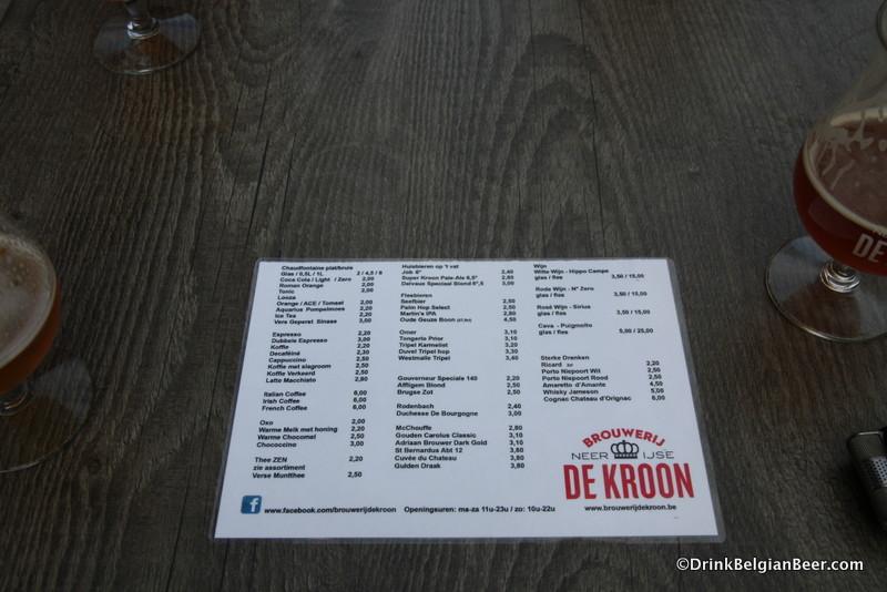 Photo of beer and drinks menu Brouwerij De Kroon