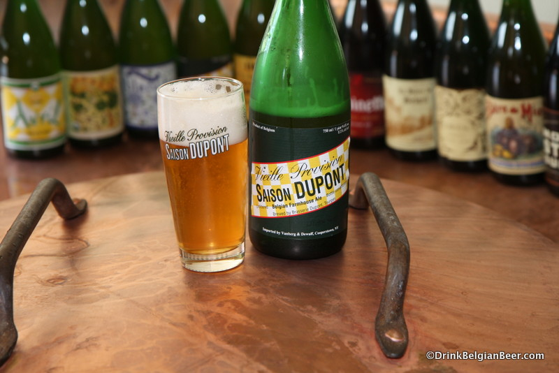 Photo of Saison Dupont on top copper boling kettle Brasserie Dupont