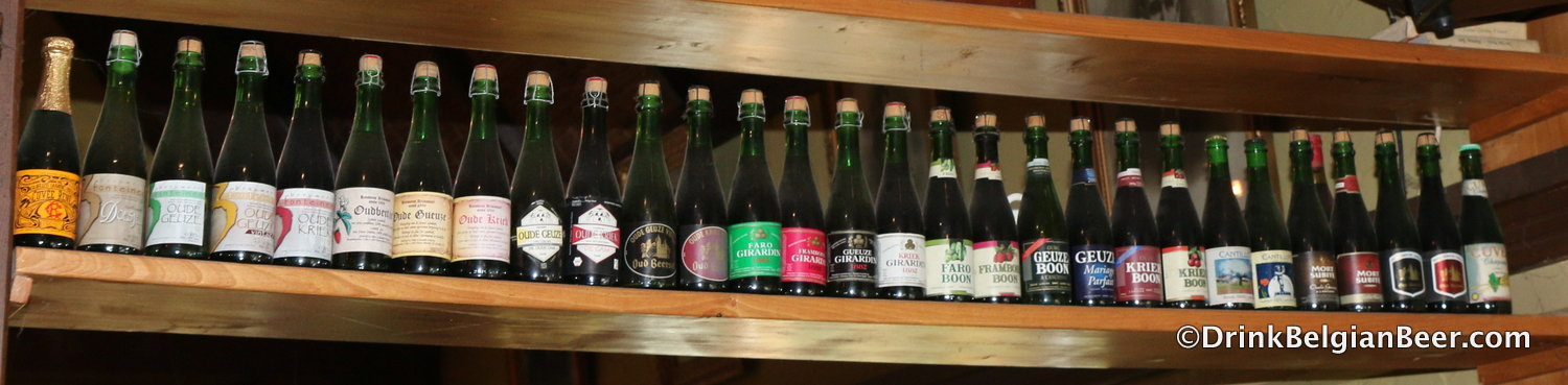 Some of Belgium's great lambic beer: Oude Geuze, Oude Kriek, and more.