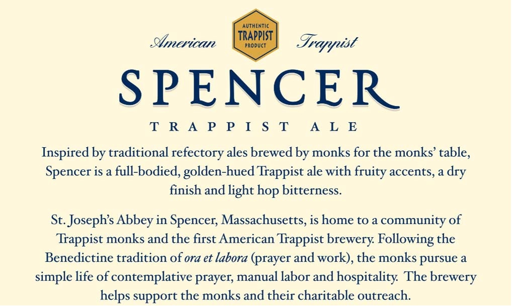 The back label of the Spencer Trappist Ale.