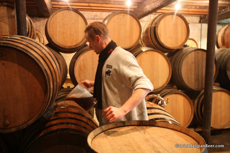The pitcher is used to fill the barrel to the very top without spilling much of the lambic.