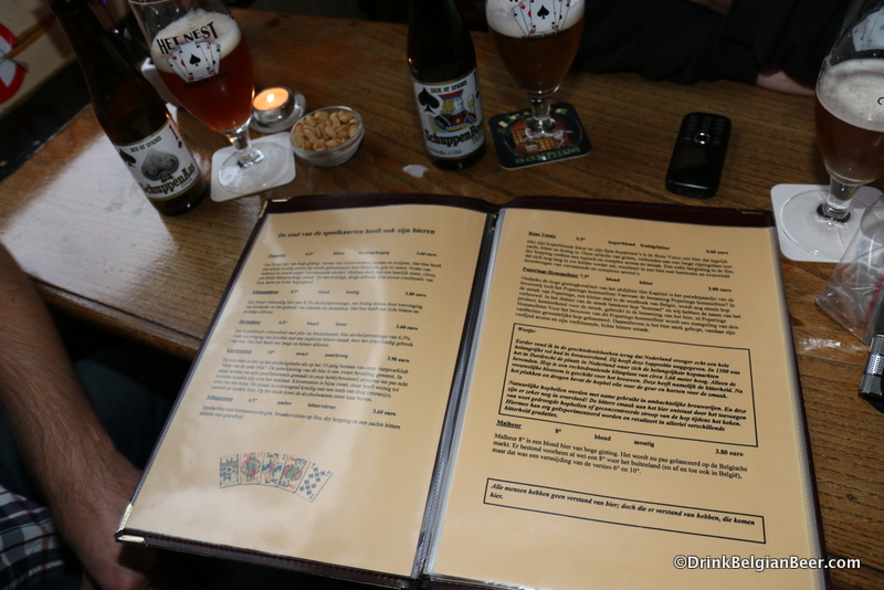 A page in the beer menu of cafe De Penge.