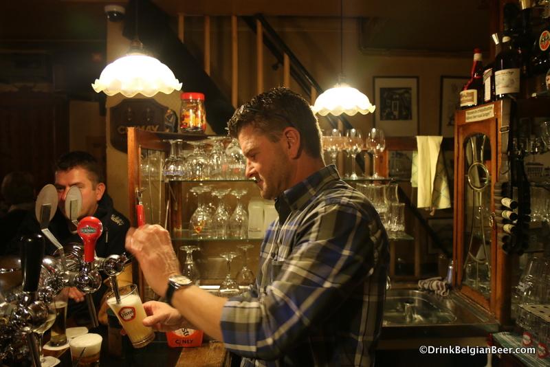 Owner Marc Moonen behind the bar at Cafe De Penge.
