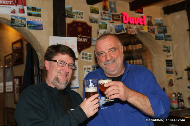 In den Spytighen Duvel owner Dirk Appels, right, with author Chuck Cook.