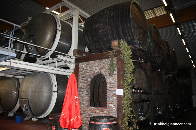 Wooden foeders and stainless fermenters at Mort Subite.
