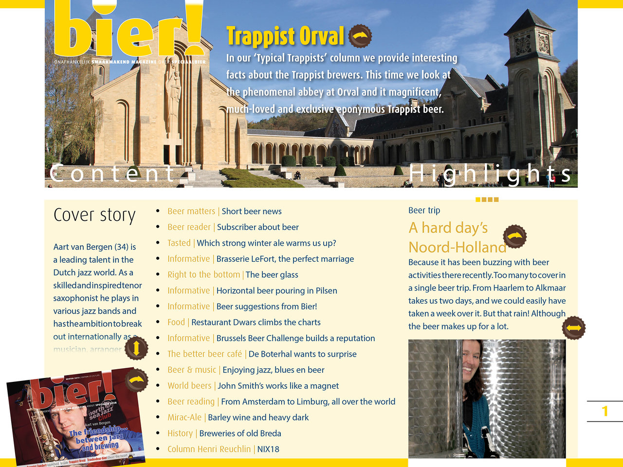 The table of content page of issue 21, Bier! Magazine