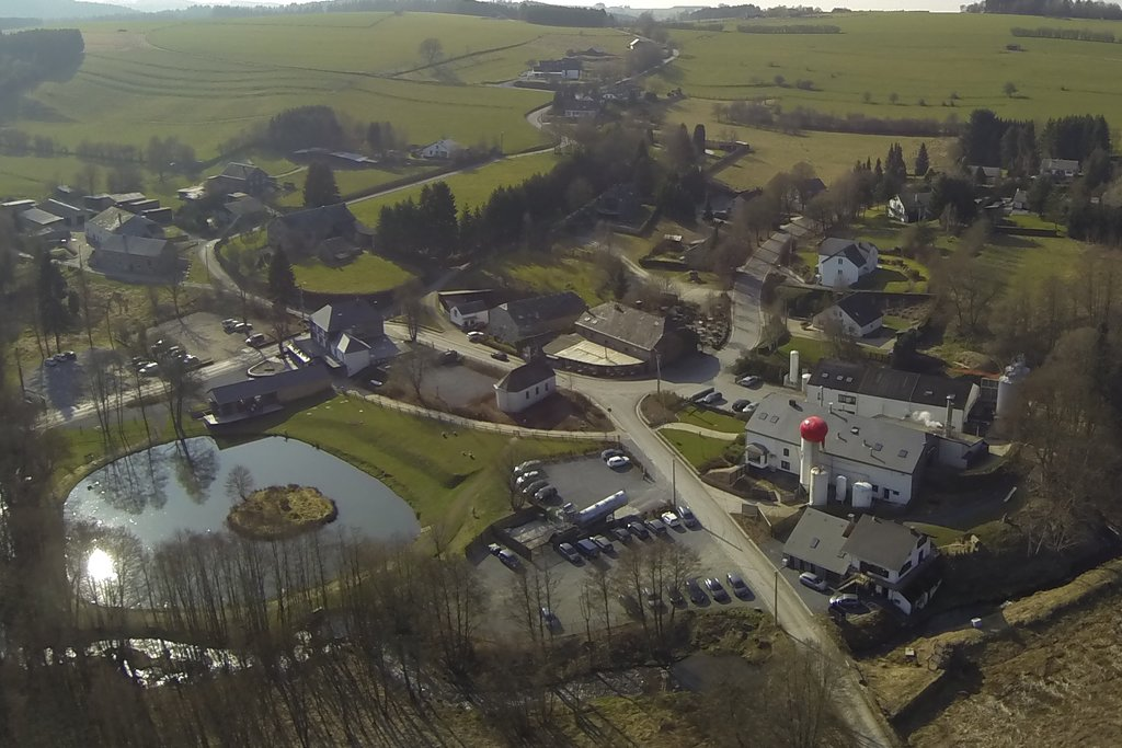 Another aerial photo of the Achouffe brewery area. Note the man-made lake on the left.