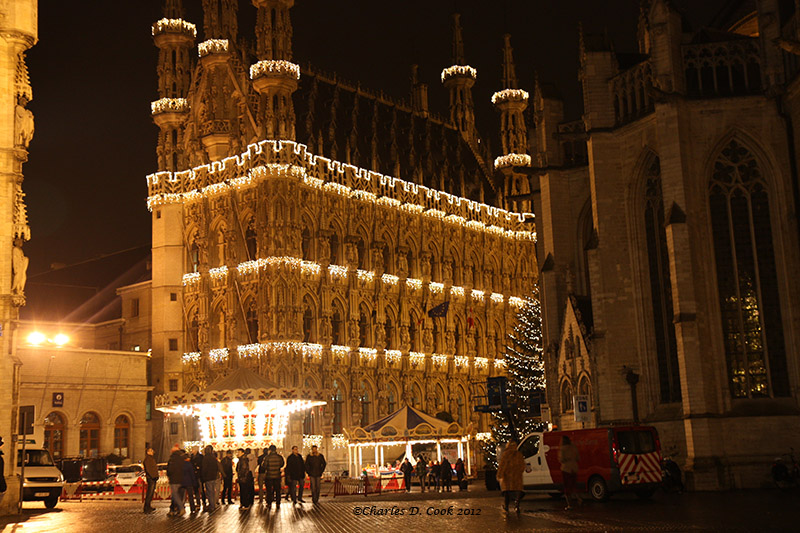 Leuven's historic Stadhuis (Town Hall) lit up for Christmas.