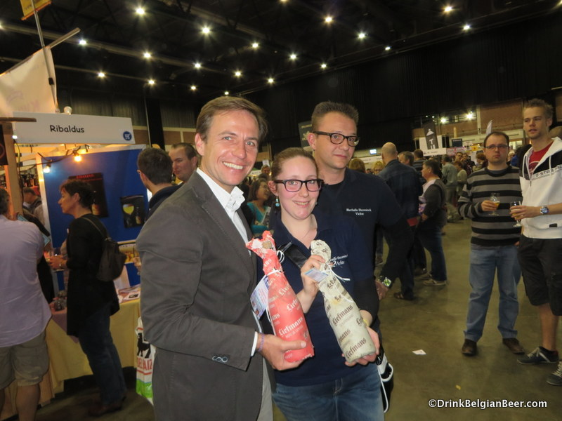 Duvel/Moortgat CEO Michel Moortgat, left, with Melissa Dhooge and Stijn from Bierhalle Deconinck