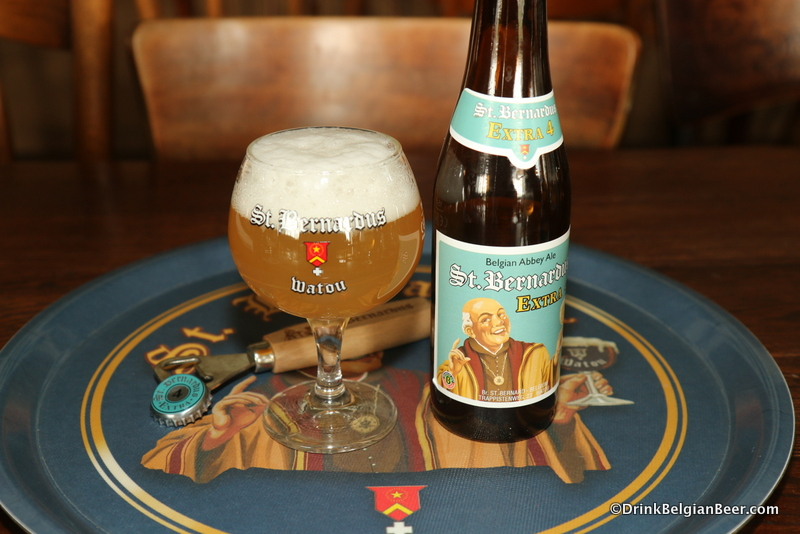St. Bernardus Extra 4, with the proper tasting glass and beer tray in the St. B tasting room. Oh yeah!