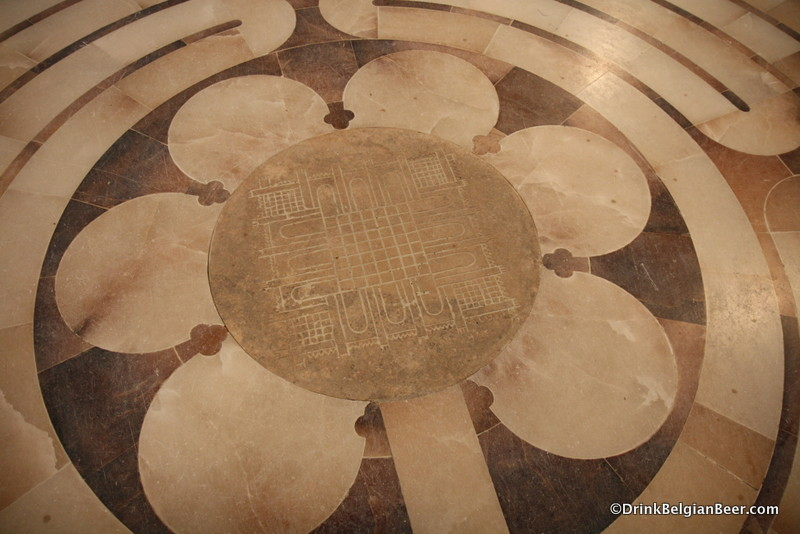 The Labyrinth on the floor of the church at l' Abbaye Notre Dame de St-Remy.