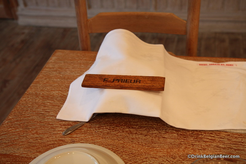 "The place setting of ""F Prieur"" or The Prior, the second in command at the abbey."