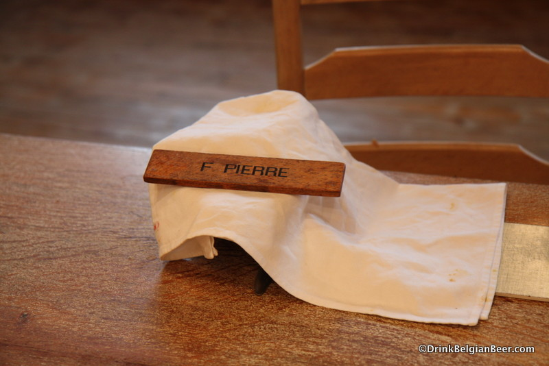 Brother Pierre's place setting in the dining room at l' Abbaye Notre Dame de St-Remy.