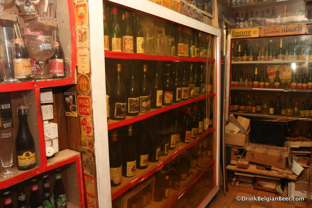 A lambic corner. The shelves on the left are mostly all Cantillon beers.
