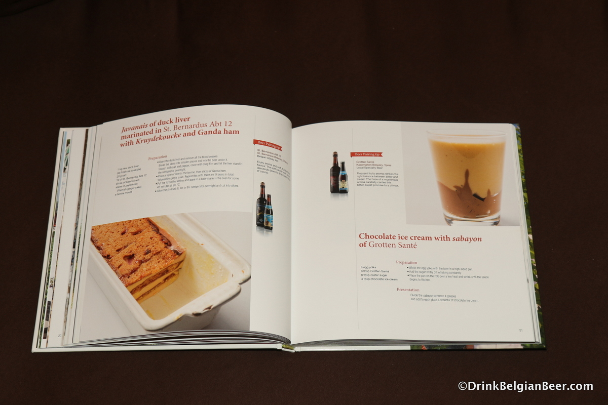 A page of the book showing dishes paired with St. Bernardus Abt. 12 and Grotten Sante from Brouwerij De Kazematten.