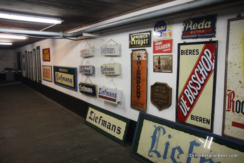 Old breweriana, mainly, enamel advertising signs, at Liefmans.