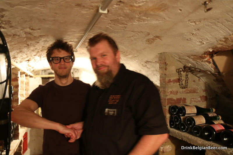 Dave Tohtz, right, of Goose Island Brewing, in the cellar of De Zwaan, with owner Adri Vanderelst.