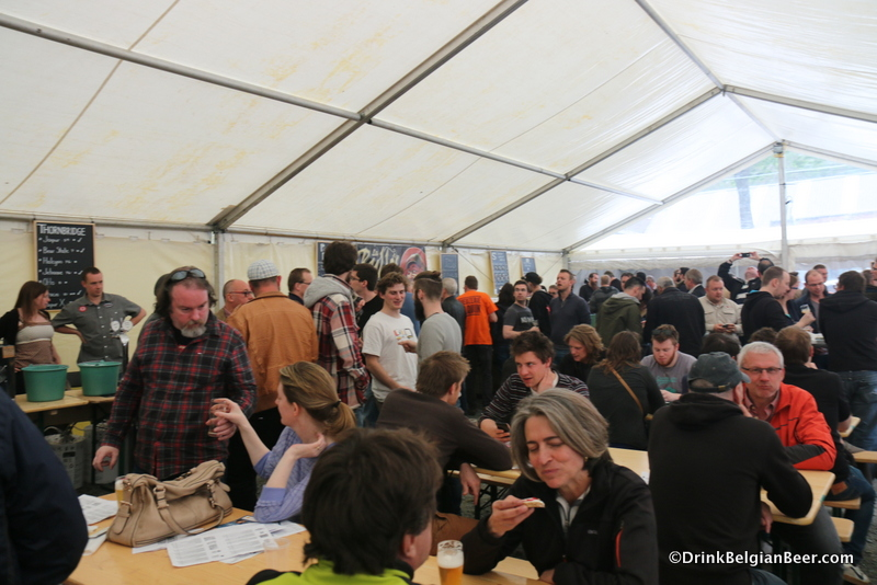 Inside the tent at the beer festival at Tilquin, Saturday, May 2.