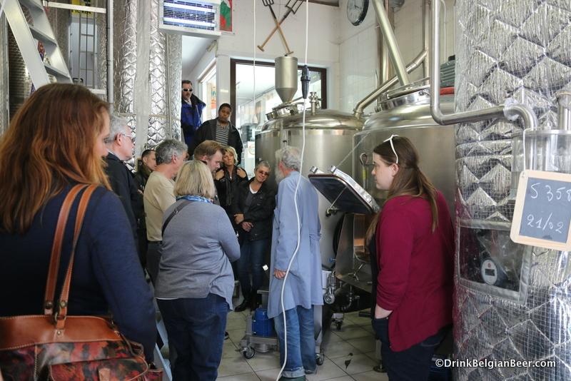 The group inside the De Glazen Toren brewery.
