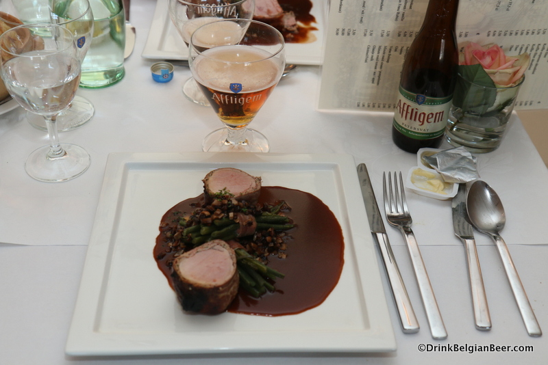 Pork Tenderloin wrapped in bacon, with fresh herbs, beans, mushroom sauce made with Affligem Dubbel. Delectable!