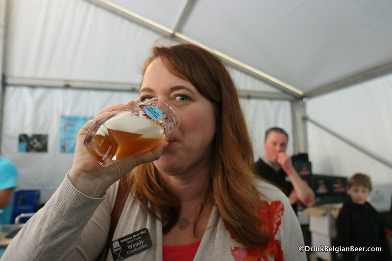 Wendy savors yet another lambic at Mort Subite. I think she's on board with Lambic.