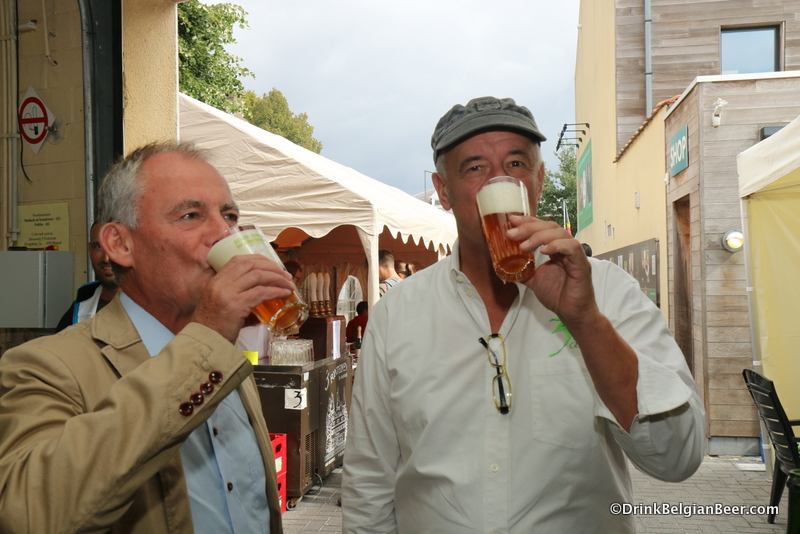 Willem Van Herreweghen (left) and Armand Debelder (right) drinking a Millennium Geuze.
