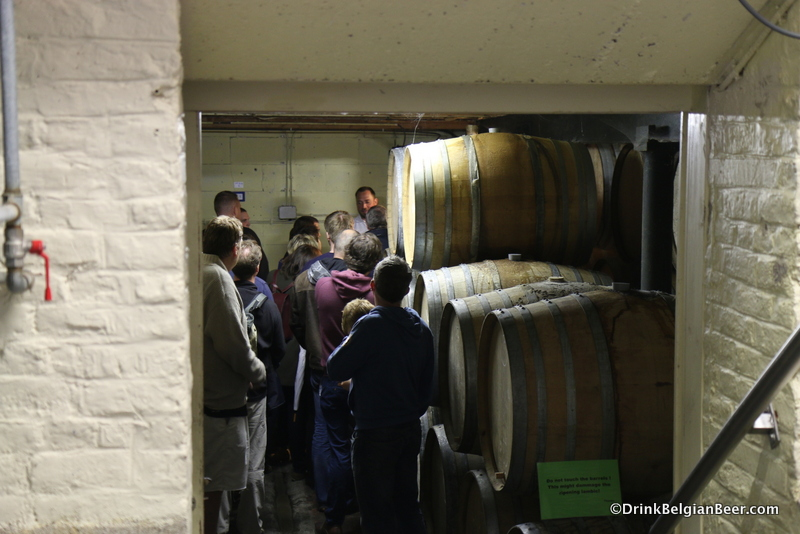 Visitors in the small barrel room at 3 Fonteinen's Open Door Days weekend, September 2015.