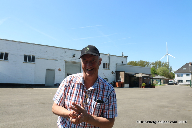 Armand Debelder of Brouwerij 3 Fonteinen in the back of the warehouse in Lot.