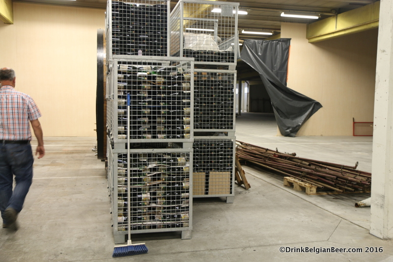 Racks of vintage bottles in the new 3 Fonteinen site.