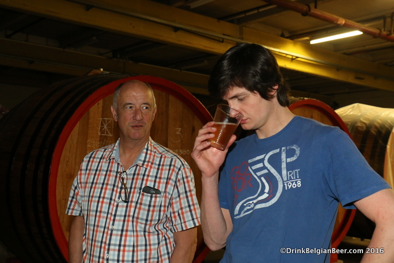 Armand Debelder (left) and Michael Blancquaert of Brouwerij 3 Fonteinen, in their new foeder hall.