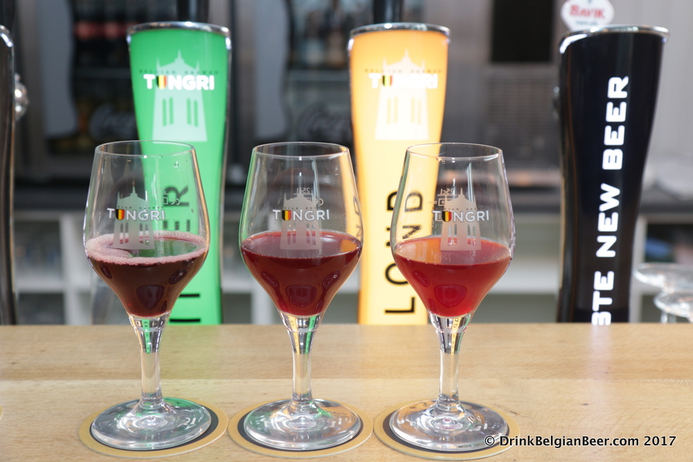 A trio of experimental fruit beers: from left, a beer made with noorderkrieken cherries; middle-a blackberry beer; and right, a breathtaking raspberry, also known as framboos or framboise.