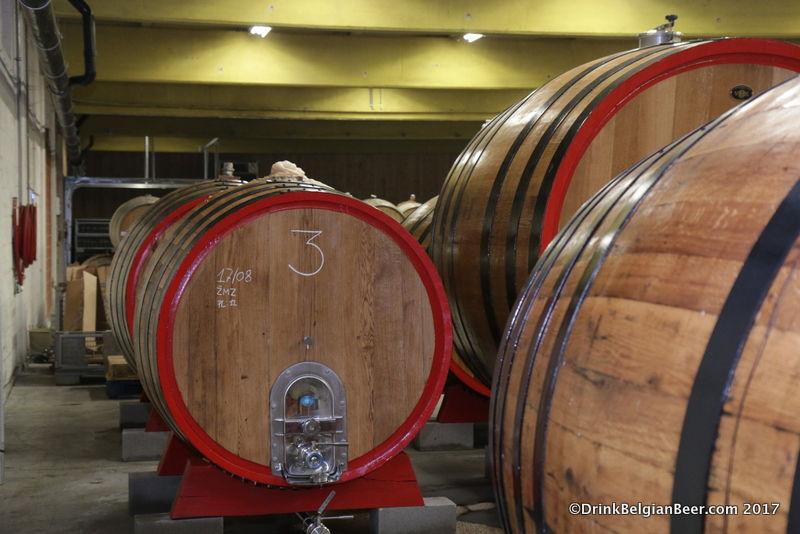 A smaller foeder in the new 3 Fonteinen site, undergoing an active fermentation.