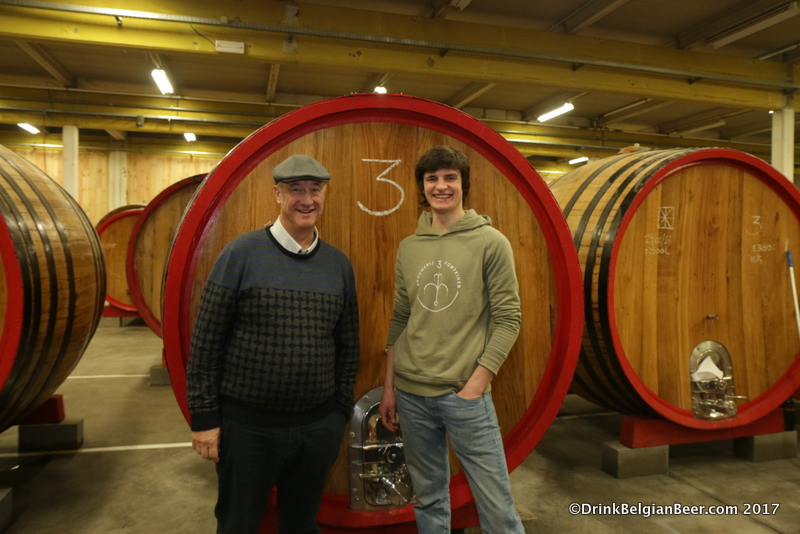Armand Debelder (left) and Michaël Blancquaert of Brouwerij 3 Fonteinen, inside a lambik-o-droom barrel room in Lot.