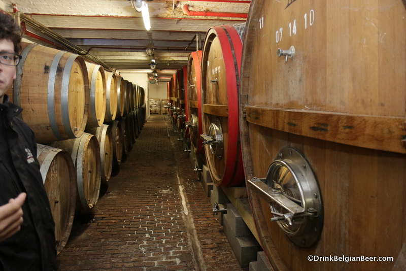 Smaller barrels on the left and foeders on the right at Timmermans.