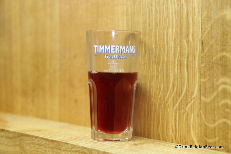 Kriekenlambic on a foeder at Timmermans.
