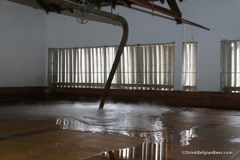Another shot of hot wort being pumped into the coolship at Timmermans.