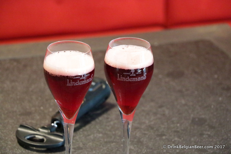 Glasses of Lindemans Oude Kriek Cuvée René.
