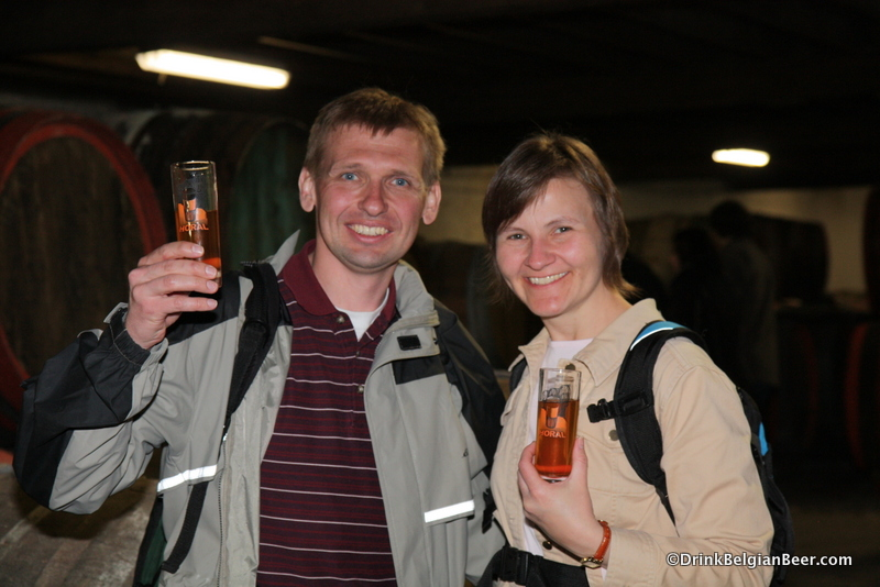 Drinking Hanssens lambic from a barrel makes people smile. Here, Craig and Mary Schanning from Wisconsin.