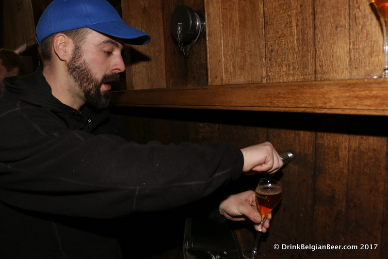 And another sample being pulled from another foeder...lambic beer research is tough work my friends.
