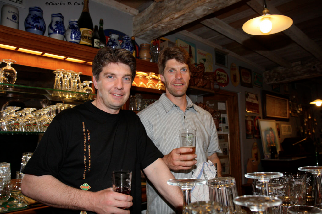 Yves (left) and Kurt Panneels behind the bar at In de Verzekering tegen de Grote Dorst.