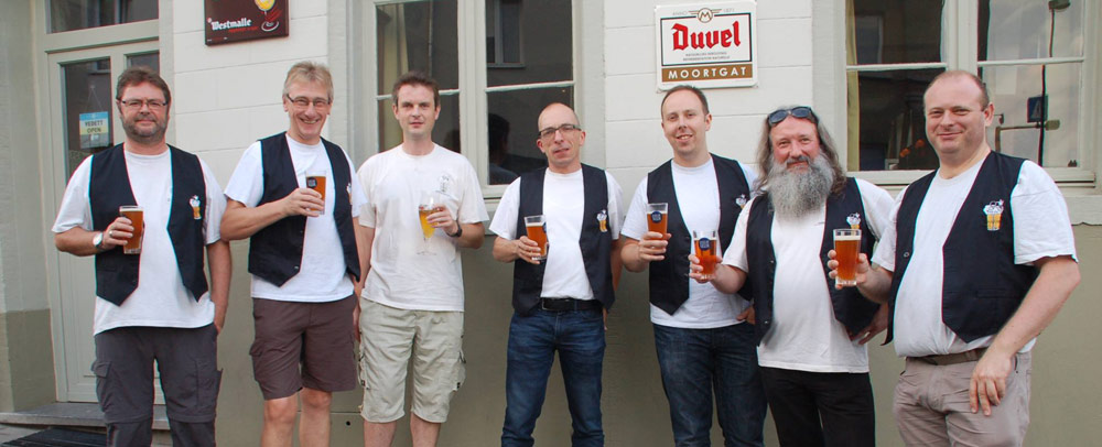 Some of the members of De Lambikstoempers, a lambic beer appreciation and promotion club located in Halle.
