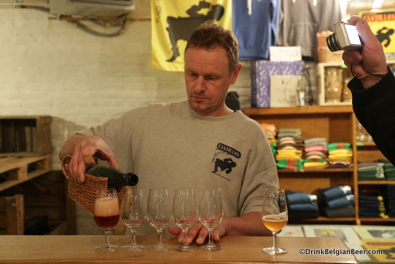 Brewmaster Jean Van Roy of Brasserie Cantillon pouring a 2003 Lou Pepe Kriek.