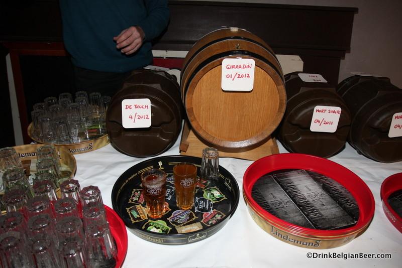 Some of the lambics on offer at Dag van de Lambiek 2012.