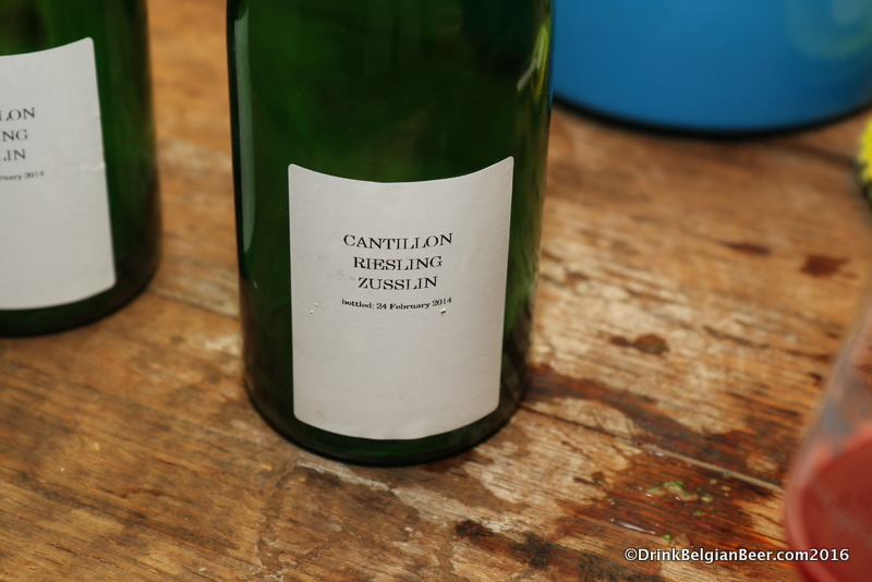 A bottle of Cantillon Riesling Zusslin, poured at Quintessence in May 2016. The Zusslin winery will be present at Vini, Birre, Ribelli.