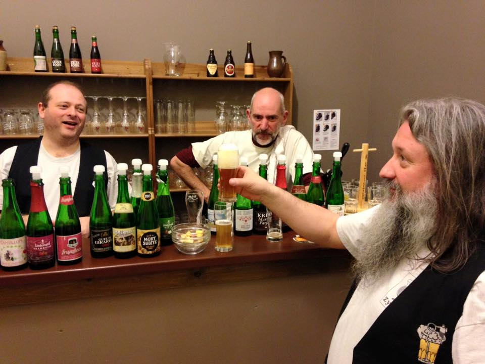 Several of the members of De Lambikstoempers at the Weekend of Oude Geuze in 2015.