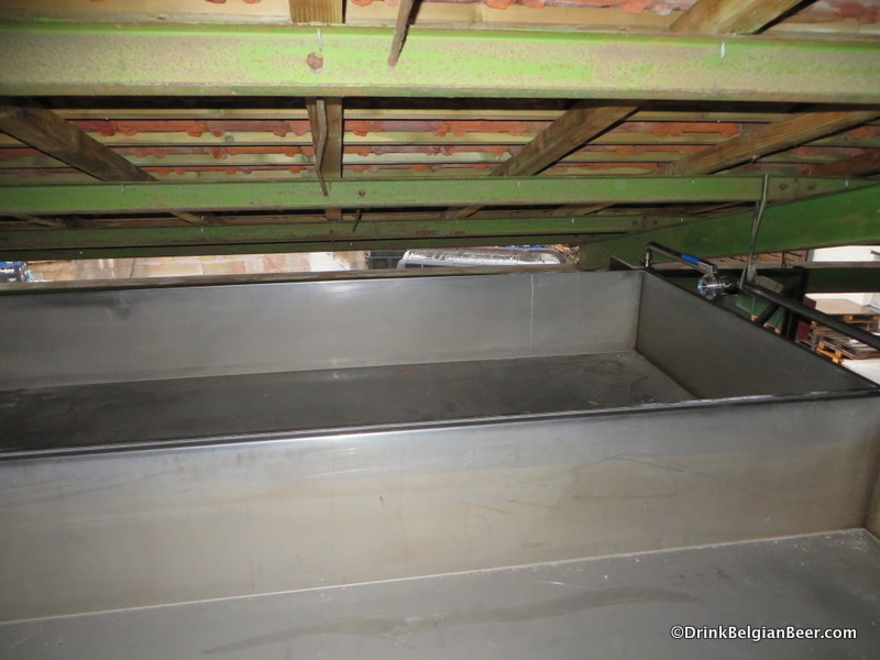 Another view of the coolship at Brouwerij Belgoo. It is only accessible by using a ladder.