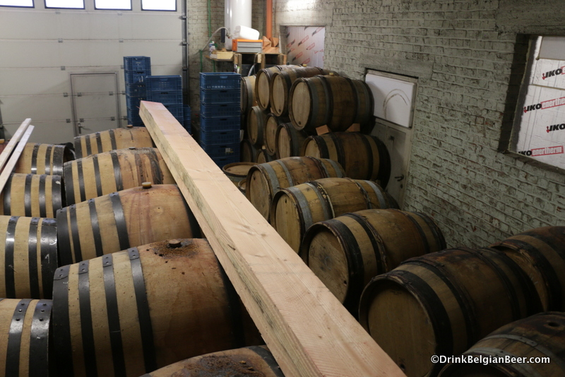 Some of the barrels on the ground floor at Lambiek Fabriek in Ruisbroek, Belgium.