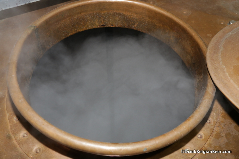 Another view inside the right side boiling kettle at Cantillon.