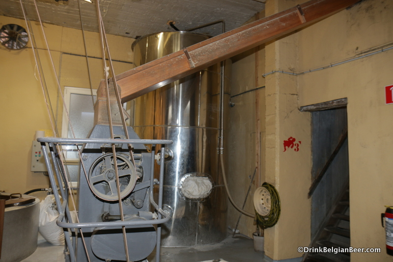 Another shot of the grain mill/crusher in the Cantillon brewhouse.