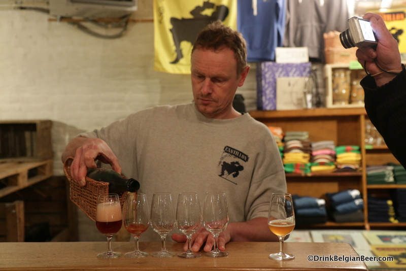 Jean Van Roy pouring samples of 2003 Lou Pepe Kriek. A real treat! It had a beautiful aged cherry character, medium funk and horseblanket notes, and a complex flavor, well balanced character, with a moderate tartness.